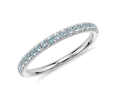 Riviera Pavé Aquamarine Ring in 14k White Gold (1.5mm