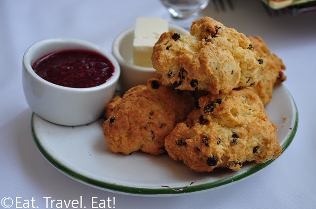 Raisin Scones with Raspberry Spread and Butter