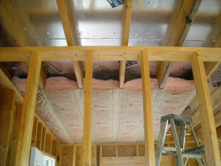 Summer Kitchen Ceiling Insulation Showing Air Space for Venting