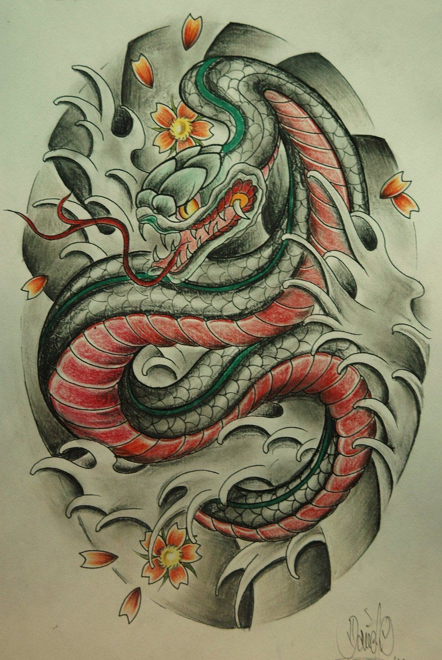 15 Japanese Snake Tattoos Collection – You can Design or ...