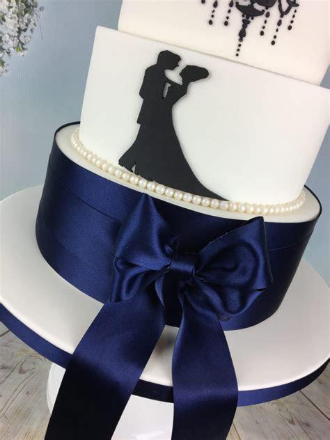 navy blue and white silhouette wedding cake   Mel's