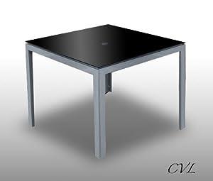 SILVER METAL & BLACK GLASS SQUARE GARDEN PATIO TABLE ...
