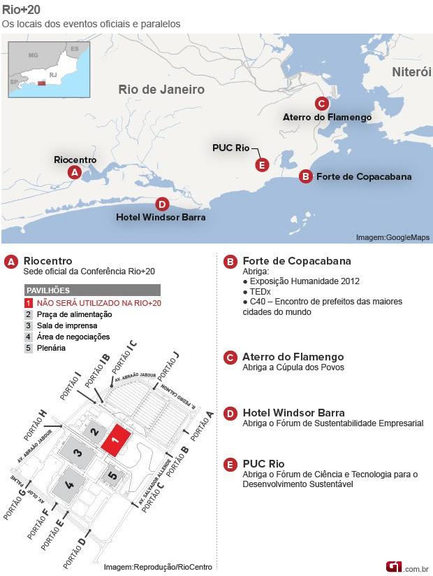 Veja o mapa dos eventos da Rio+20  (Foto: Arte G1)