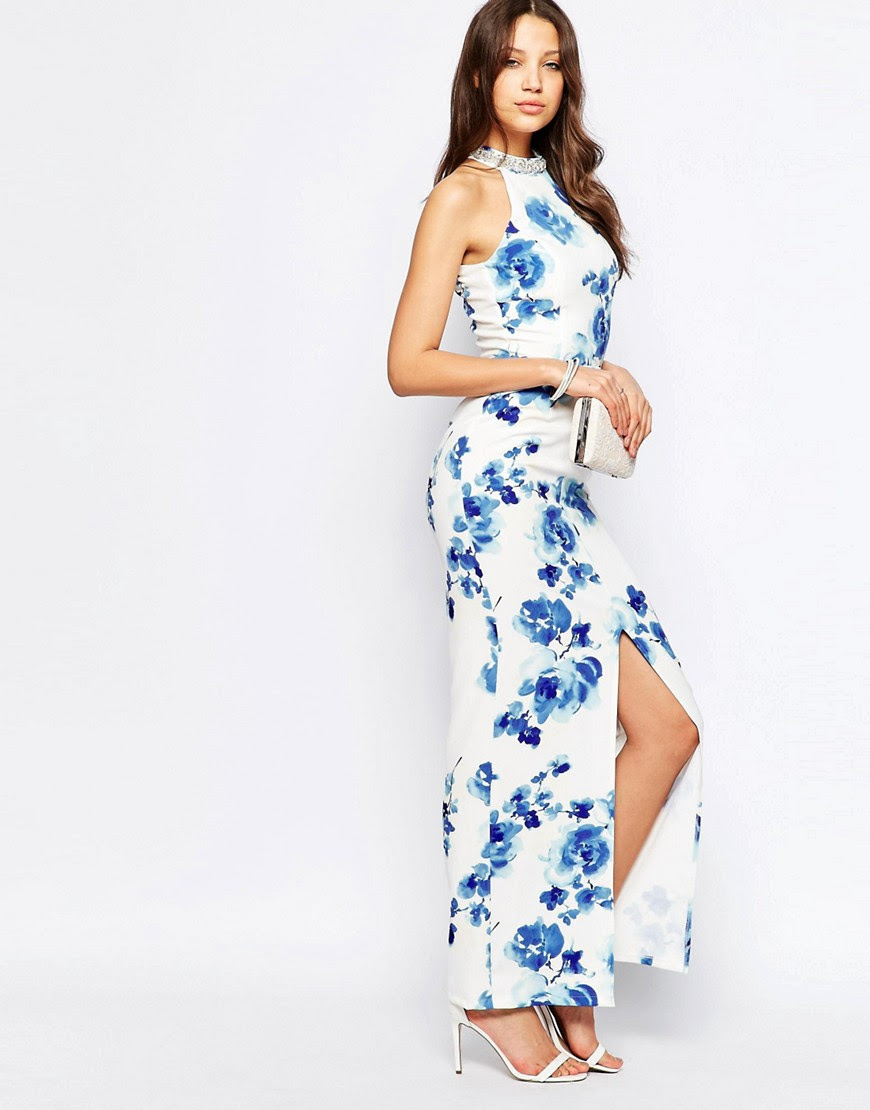 Image 4 of Paper Dolls Tall Floral Print Halter Maxi Dress With Embellished Collar