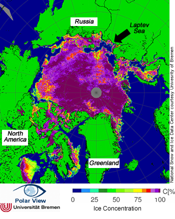 map of sea ice concentration, July 5, 2009
