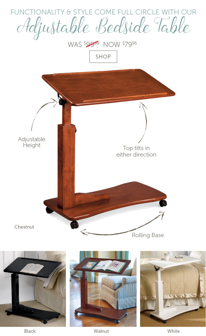 Functionality & Style Come Full Circle with Our Adjustable Bedside Table