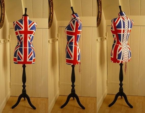 Vintage Style Corset Laced Mannequin UNION JACK Dressform