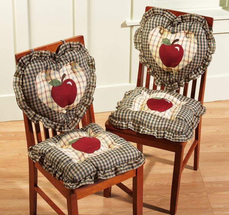 Set of 2 - 2pc Country Plaid Apple Kitchen Chair Cushions