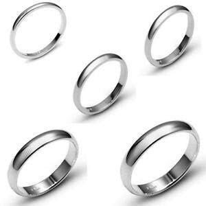 SOLID 10K WHITE GOLD PLAIN COMFORT FIT WEDDING BAND RING