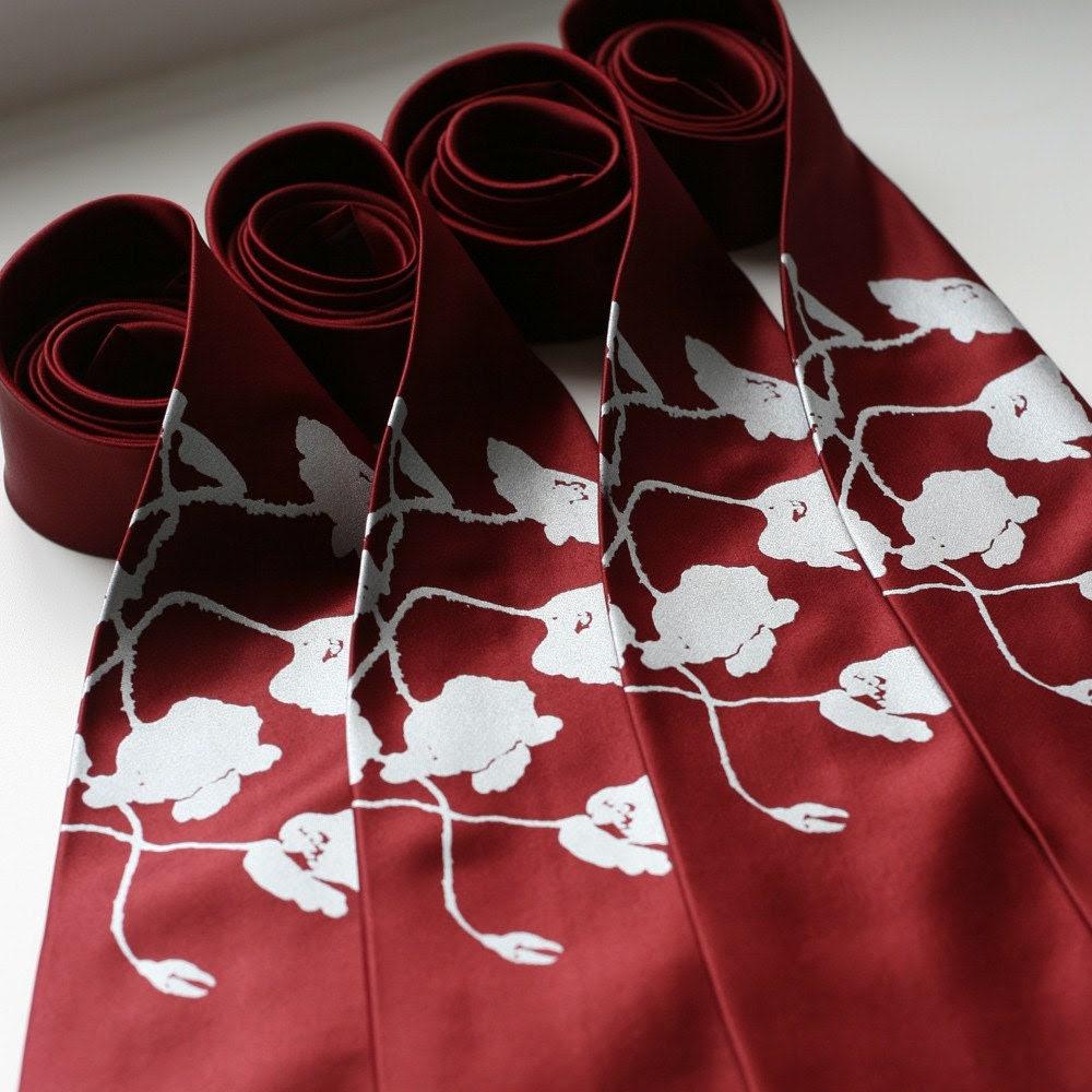 Groomsmen neckties, wedding bulk discount, 5 matching ties, same design