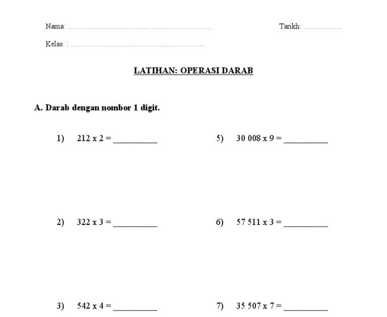 Darab Latihan Matematik Tahun 3 Bahagi / Soalan Bahagi ...