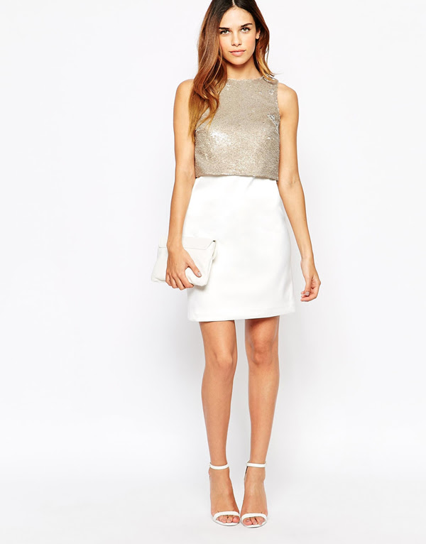 white silver hen party dress