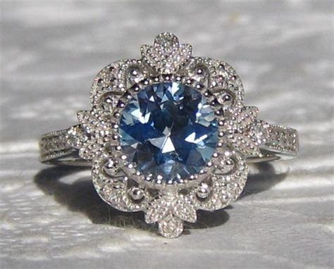 Blue Sapphire Engagement Ring, Vintage Inspired White Gold