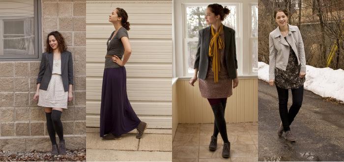 dashdotdotty, outfit blog, how to wear, shop your closet, remix, multiple ways, desert boots, suede desert boots, gray