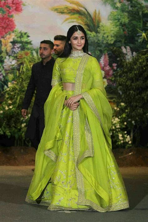 Alia looking great in lime green   Lehenga in 2019   Sonam