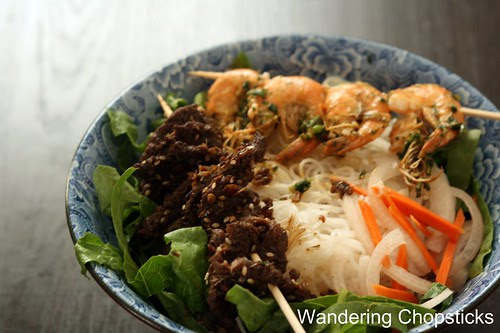 Bun Thit Nai Nuong Xa (Vietnamese Noodles with Grilled Lemongrass Venison) 1