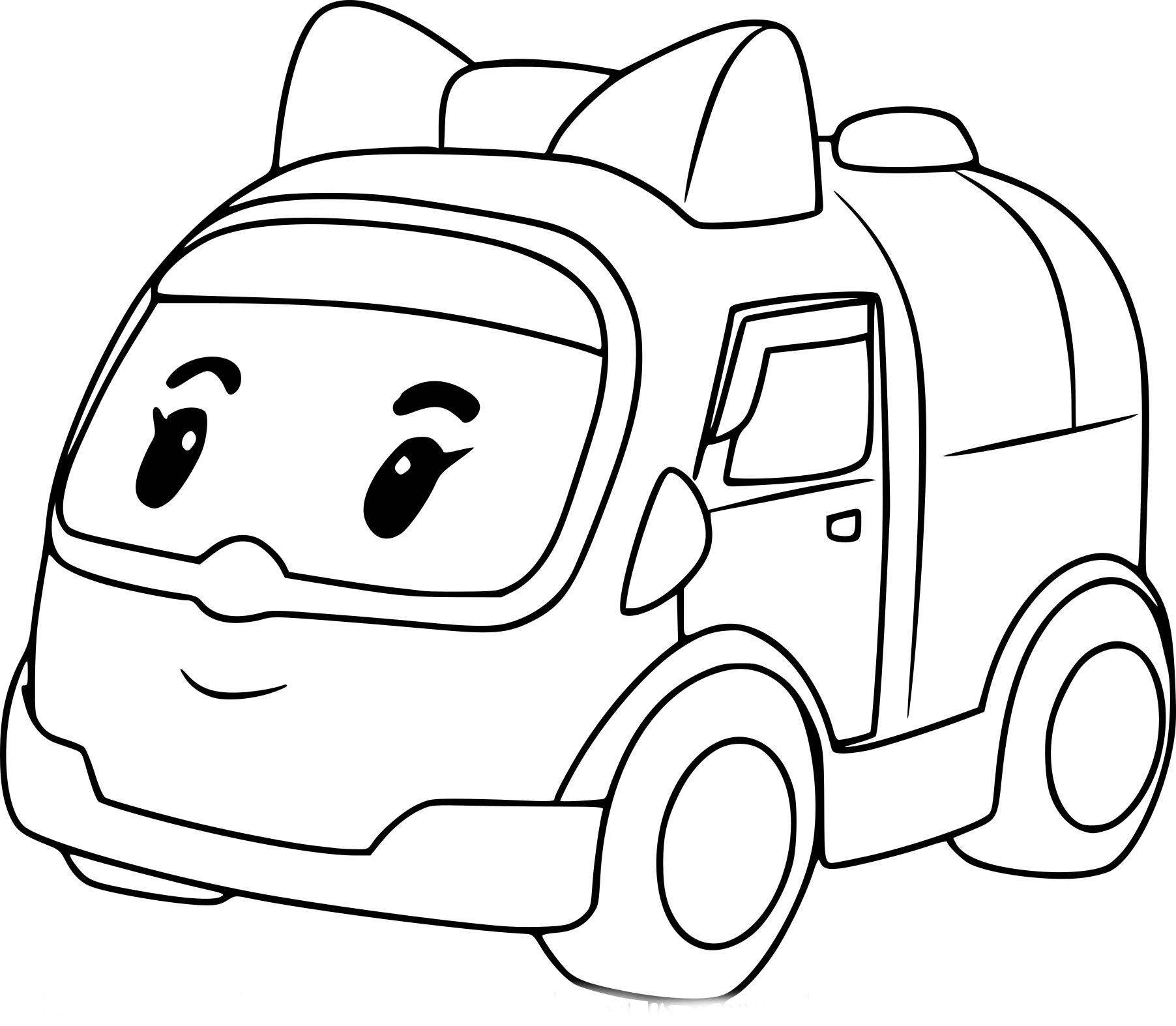 Coloriage de Robocar Poli ambulance