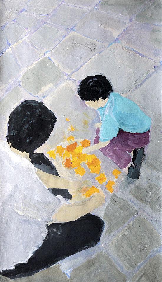 """Pintura da artista plástica Deborah Paiva para a edição de 17 de março da """"Ilustríssima"""""""