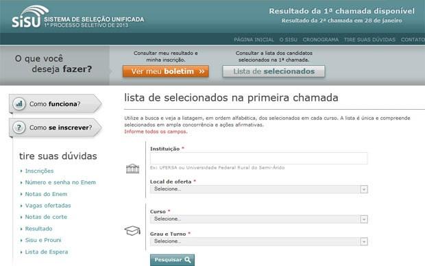 Site do Sisu permite fazer busca dos aprovados por instituição, curso e turno (Foto: Reprodução)