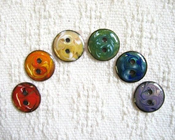 Handmade buttons - Set of 6 copper enamel rainbow buttons
