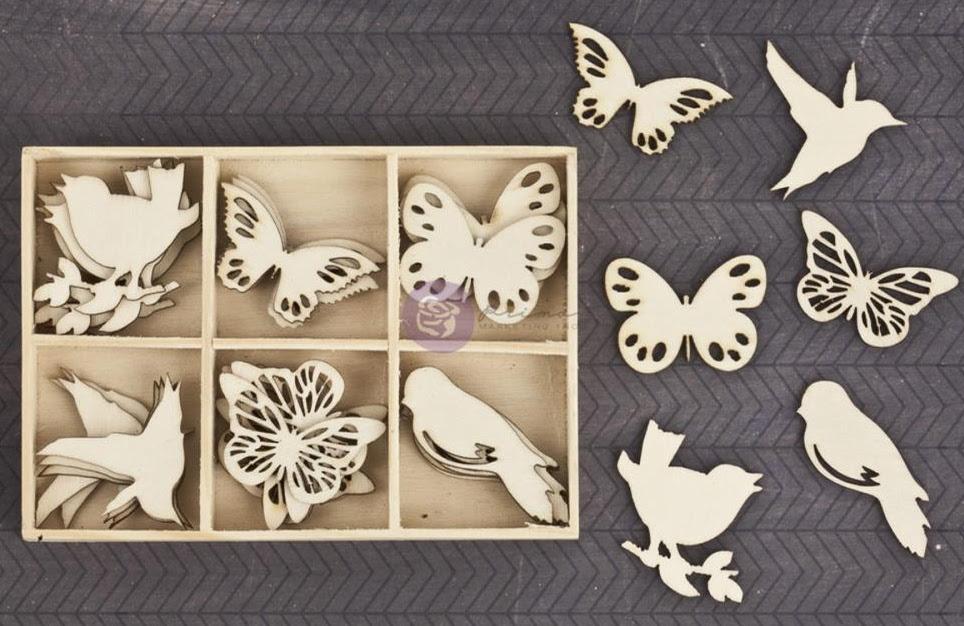 Prima Wood Embellishments - Birds and Butterflies