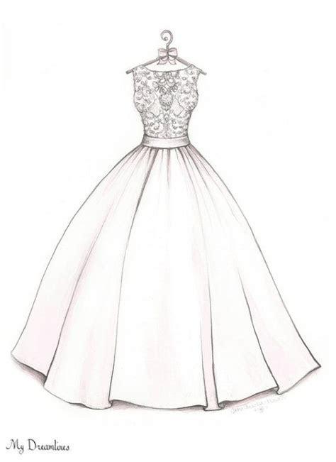 Bridal Shower Gift, Wedding Dress Sketch, bride gift from