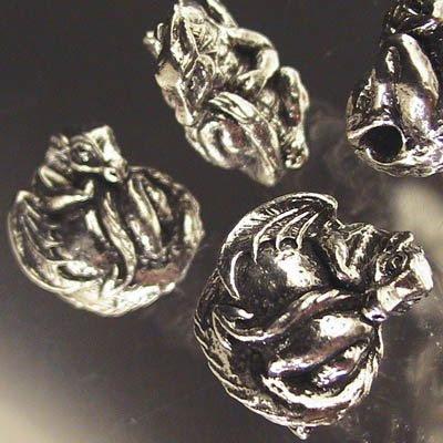 s21793 Metal Beads -  Tailbiter - the Dragon - Antique Pewter (1)