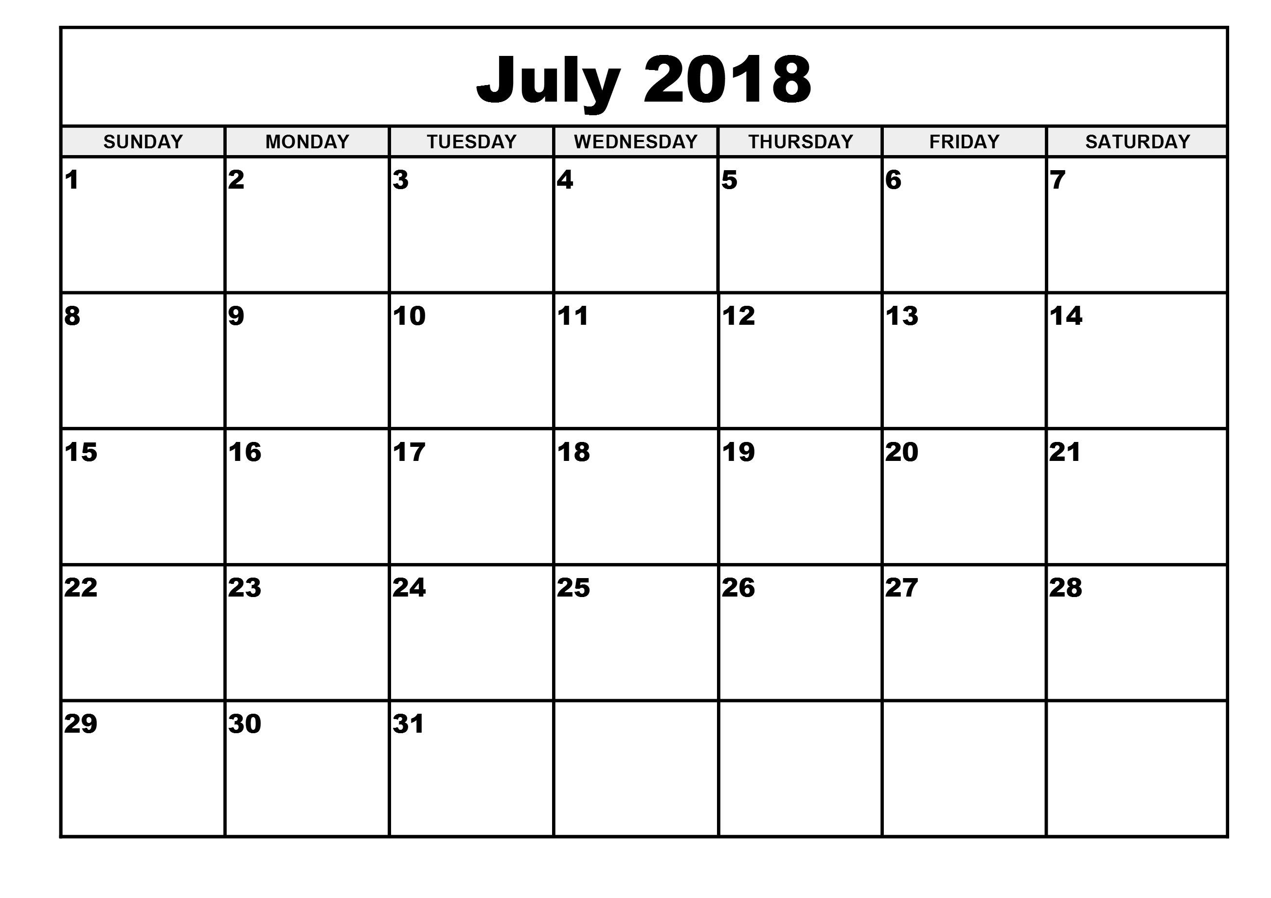 july 2018 calendar 1