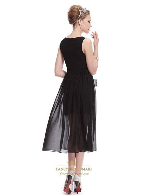 Black Dress With Long Chiffon Overlay,Short Black V Neck