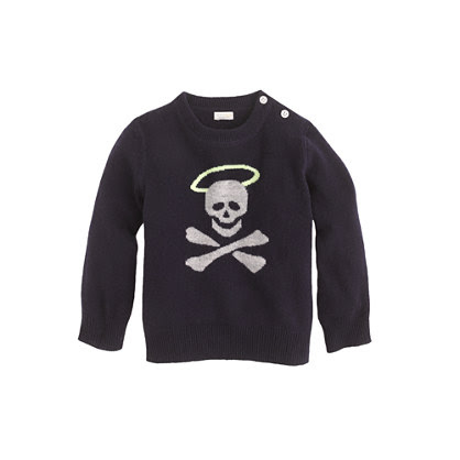 Collection cashmere baby sweater in halo-skull
