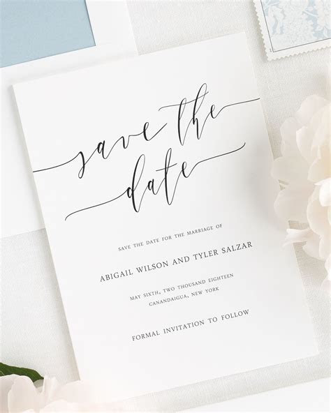 Romantic Calligraphy Save the Date Cards   Save the Date