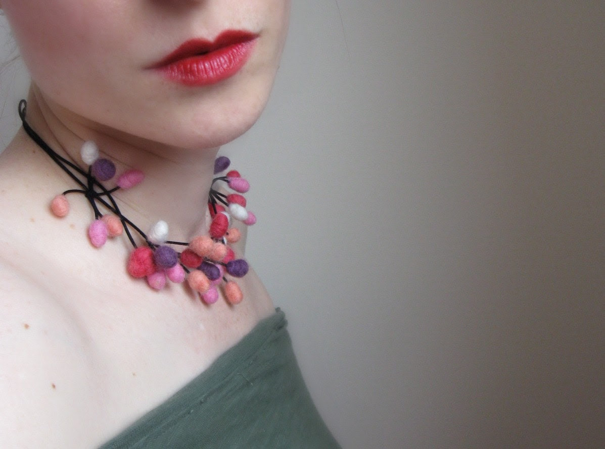 Very Berry Necklace Hand Felted From wool