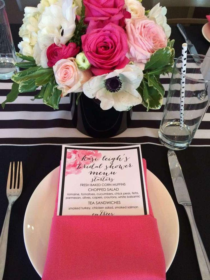 Black White Pink Gold Bridalwedding Shower Party Ideas 2341113