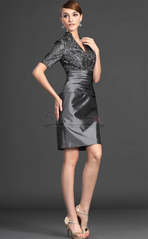 Silver Taffeta , Lace Sheath V Neck Short Mother of the