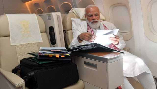 """While flying out from India, Modi had said, """"My visit to the US would be an occasion to strengthen the Comprehensive Global Strategic Partnership with the USA, consolidate relations with our strategic partners – Japan and Australia – and to take forward our collaboration on important global issues."""" Image Courtesy: @narendramodi/Twitter"""