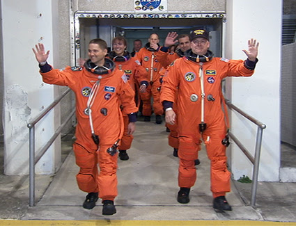 STS-131 crew departs for the launch pad.