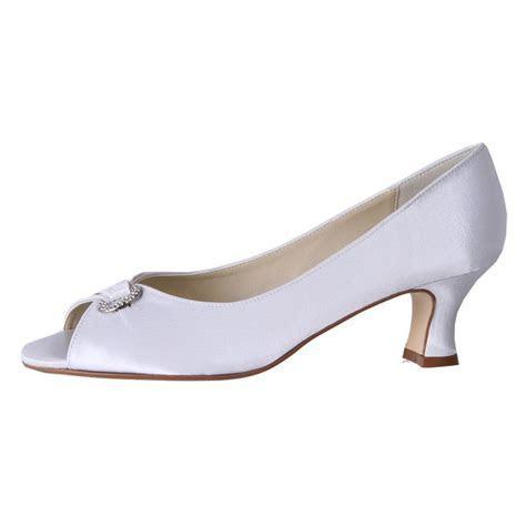 Clarice Womens Satin Rhinestone Low Heel Wedding Shoes