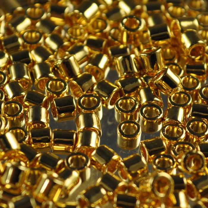 dbl0031 Delicas - 8/0 Japanese Cylinders - 24 Kt Gold Plated AB (2.5 grams)