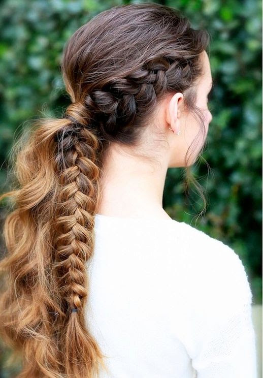 7 Le Fashion Blog 21 Braid Ideas For Long Hair Brunette Half Braided Ombre Ponytail Via Cute Girls Hairstyles