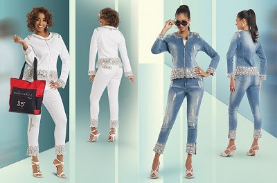 DV Jeans brings you Medium Blue stretch denim, all dressed up and ready to go almost anywhere! .Both jacket and pant are embellished with elaborate Silver metallic embroidery, Silver beads and sequins. A few strategically placed frayed strips add a bit of