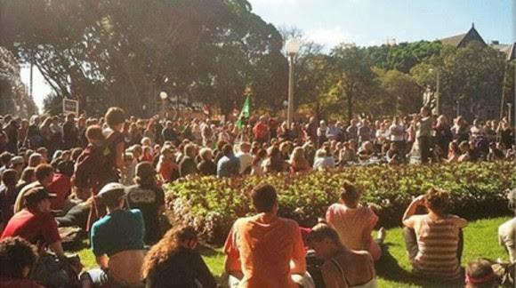 Los activistas en Hyde park, Sydney. Foto: facebook.com / MarchAgainstMonstanto