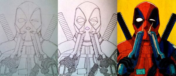 My drawing, plus work-in-progress photos of it, of DEADPOOL.