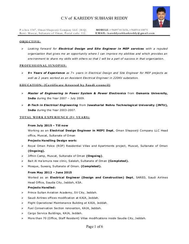 resume electrical engineer mep 9 years exp 1 638