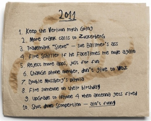 While most of the fake resolutions listed on this Starbucks napkin are