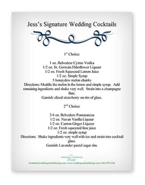 Cocktail Menu Examples   Wedding Cocktail Design   Custom