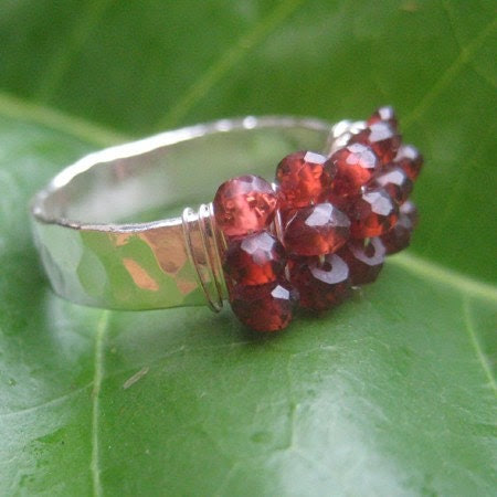 Garnet and Fine Silver Hand Forged Ring