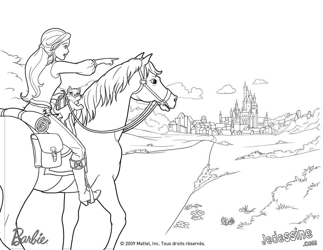 Corinne Färbung in ihrem schönen Kleid Kolorierung von Corinne zu Pferde in den Türen von Paris