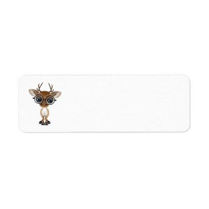 Nerdy Baby Deer Wearing Glasses Label