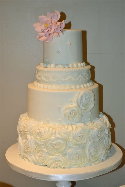 Sweet Cakes by Rebecca: Rosettes and Pearls {Wedding Cake}