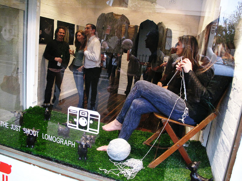 Serpent and the Swan Launch, window instillation, knitting